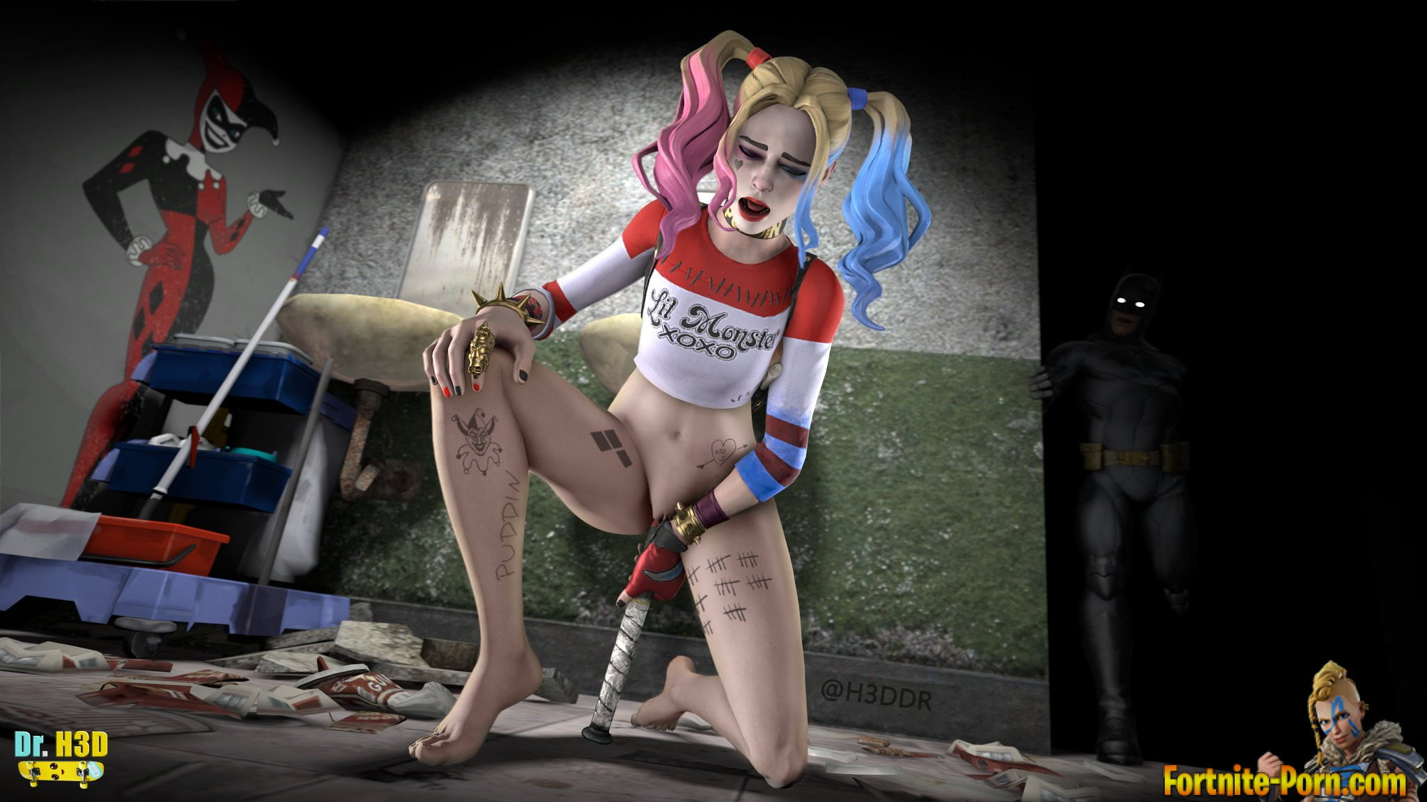 Shemale star harley quinn in a sexy solo strip tease on